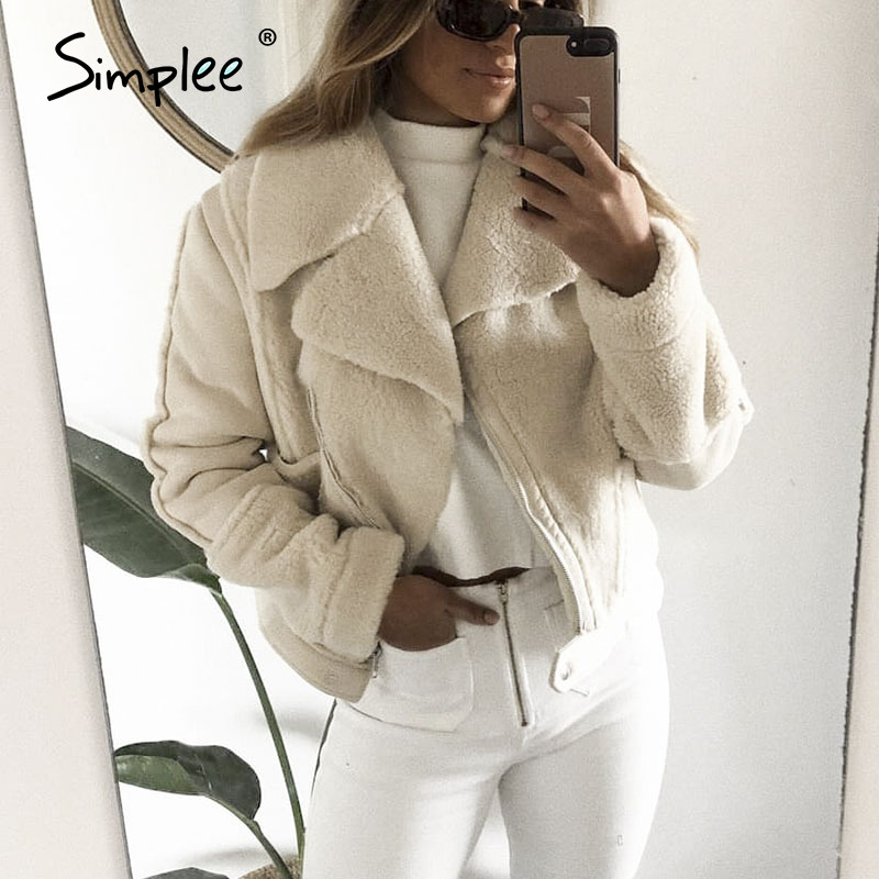 Simplee Elegant Patchwork Faux Leather Coat Women Zipper Pockets Faux Fur Winter Jackets Chic Office Ladies Warm Suede Overcoats