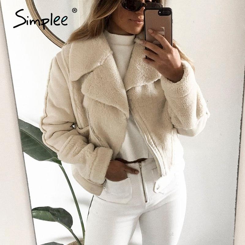 Simplee Elegant Patchwork Faux Leather Coat Women Zipper Pockets Faux Fur Winter Jackets Chic Office Ladies Warm Suede Overcoats