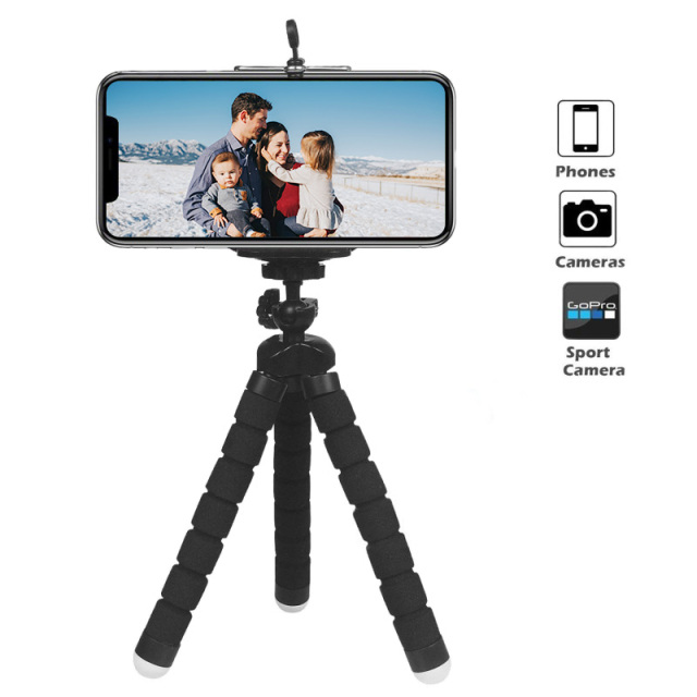 Mini Flexible Sponge Octopus Tripod 360° Adjustable Travel Portable Camera Stand   Compatible with  Cell Phones, Sport Cameras