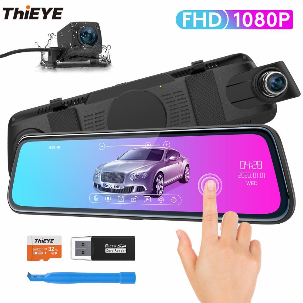 ThiEYE CarView 2 Автомобильная DVR камера 10-дюймовый сенсорный экран Full HD1080P видеорегистратор с двойным объективом 720P зеркальная камера заднего вид...