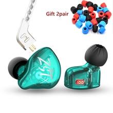 KZ לZST X 1BA 1DD היברידי יחידה ב אוזן אוזניות HIFI בס ספורט DJ Earbud אוזניות עם כסף מצופה כבל אוזניות KZ ZSTX ZSN