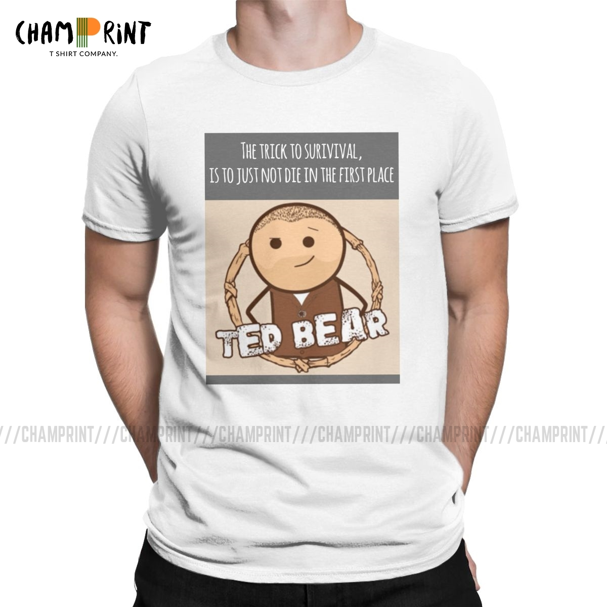 Men's T-Shirt Ted Bear Amazing Pure Cotton Tees Short Sleeve The Cyanide & Happiness Show T Shirts Crew Neck Clothing 4XL 5XL image