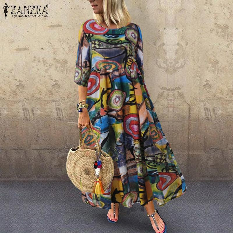 Autumn Summer Dress Women Vintage Vestidos ZANZEA 2020 Pleated Printed Long Maxi Dresses Tunic Party Femme 3/4 Sleeve Plus Size(China)