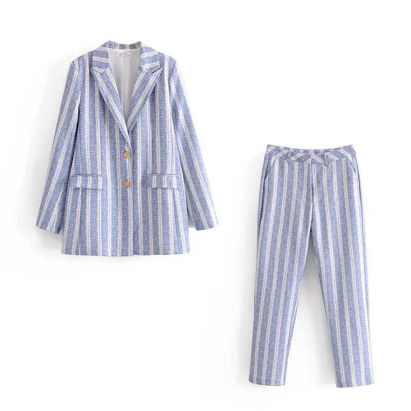 Temperament Casual Long Sleeve Women's Suit Autumn New Single-breasted Striped Blazer Casual Pants Suit Office Suit Female