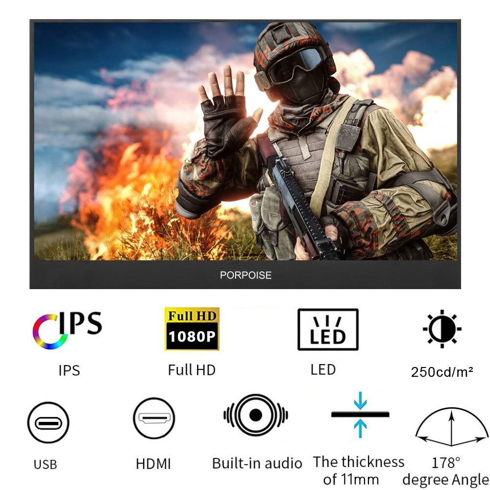 17,3 дюймов супер-ультра портативный монитор 1920*1080 P ips экран USB дисплей со складной держатель для HDMI PS3 PS4 xbox для ПК