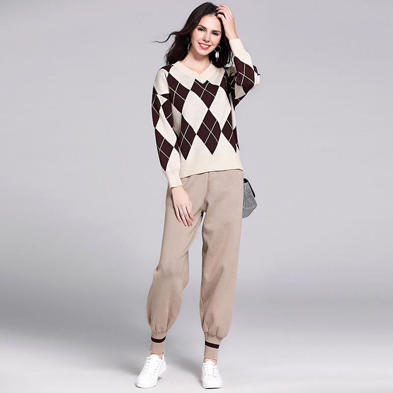New Style Women's College Style Laziness-Style Loose-Fit Pullover Knitting Shirt Sweater Casual Capri Baggy Pants Two-Piece Set