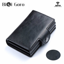 BISI GORO Top Quality RFID Blocking Smart Wallet Pop Up Women Wallets Money Bag Credit Card Holder Double Box