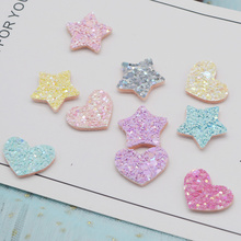 30Pcs Glitter Shiny Heart Sequins Star Appliques For Handmade DIY Clothes Hat Sewing Patches Headwear Hair Clips Accessories