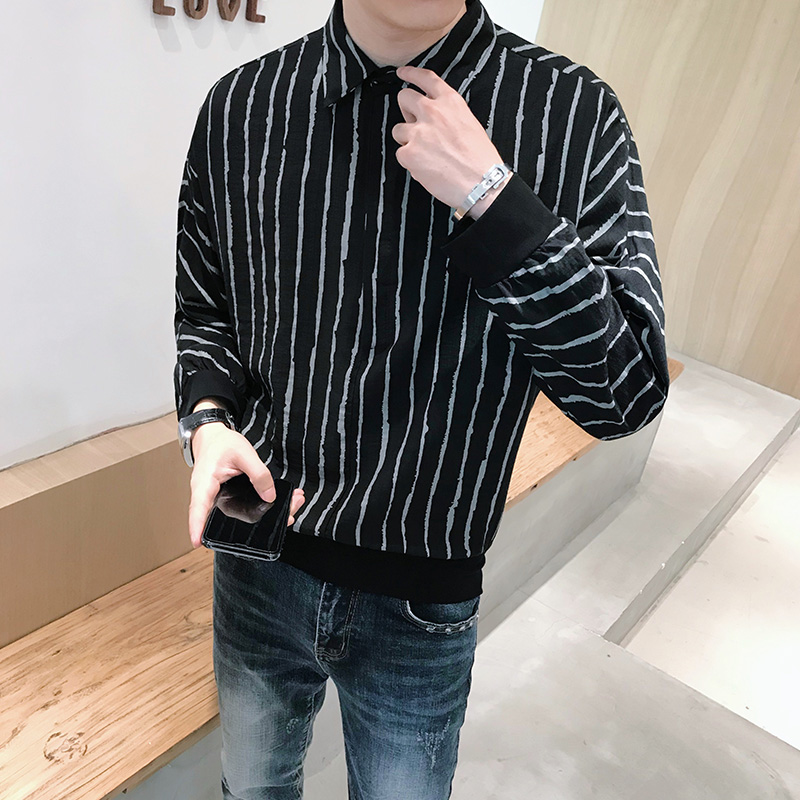 Spring New Pullovers Men Striped Shirts Long Sleeve Simple All Match Cotton&Linen Loose Casual Chemise Homme Black/White 3XL-M