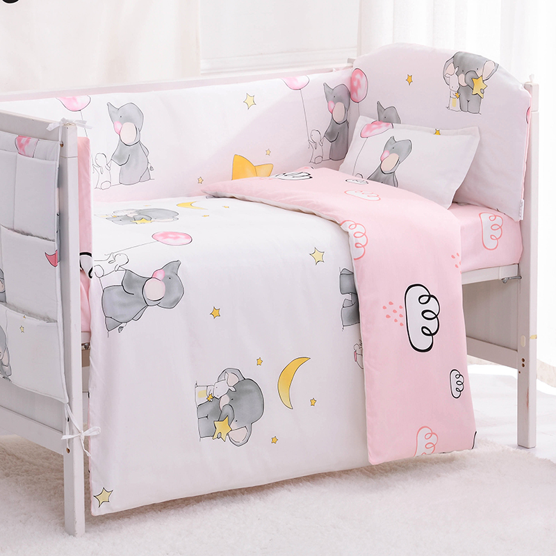 6/9pcs Elephant Toddler Bed Set Baby Crib Bedding Baby Nursery Bedding Infant Crib Set Crib Bumper 120*60/120*70cm