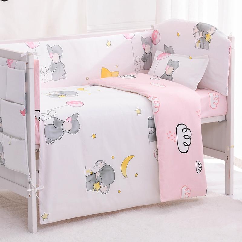 6/9pcs Elephant Toddler Bed Set Baby Crib Bedding Baby Nursery Bedding Infant Crib Set Crib Bumper 120*60/120*70cm