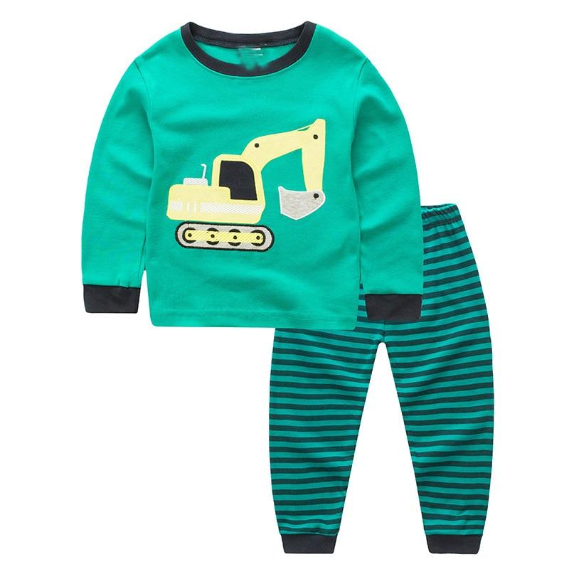 TUONXYE Children Pajamas Excavator Car Pyjamas Set Kids Pijama Infantil Boys Nightwear Cotton Girls Long Sleeve Sleepwear Suit 1