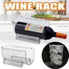 1 pacote organizador de geladeira cozinha garrafa armazenamento rack empilhável vinho titular garrafas exibição prateleira geladeira cozinha organizador