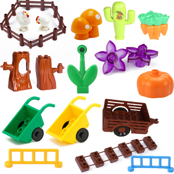 Duplo City Building Blocks Chicken Trees Cactus Corrot Flowers Drawbridge Fence Toys For Children Mushroom Barrow Animal Figures image