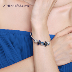 Image 5 - ATHENAIE Authentic 925 Sterling Silver Starry Sky Charms Bracelet Bangles with CZ Charm Beads for Women Christmas Day Gift
