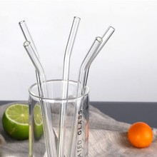 Straw-Set Glass for Smoothies Essential-Oils with Cleaning-Brush Bent