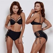 Sexy Bikini Set Bra Solid Swimwear Bandage Bathing Suit 2019 New Swimwear Women Swimsuit Beach Bathing Suit Backless Swimwear стоимость