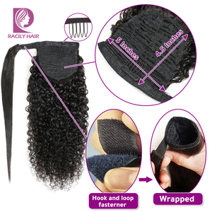 Image 4 - Racily Hair Afro Kinky Curly Ponytail Human Hair For Women Remy Brazilian Wrap Around Drawstring Ponytail Clip In Hair Extension