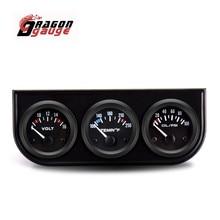 DRAGON GAUGE 52mm Car Triple Gauge Water Temperature(Celsius) Oil Pressure Voltmeter With Sensor Triple Gauge Kit for 12V Car