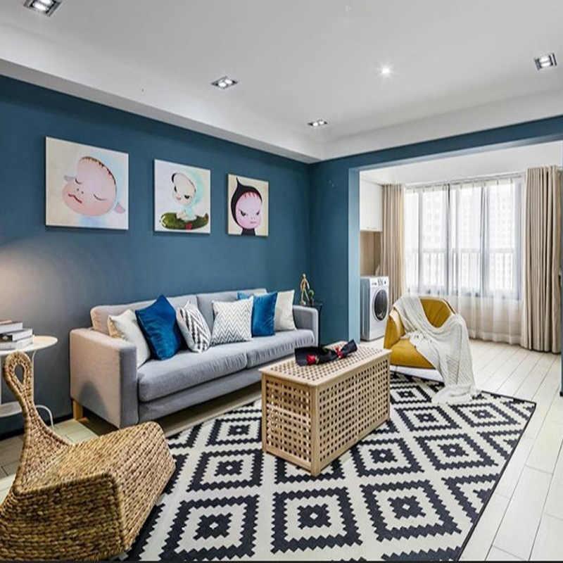 흰색과 검은 색 카펫 거실 폴리 에스터 지역 러그 홈 카펫 층 문 매트 거실 용 침실 매트 섬세한 매트