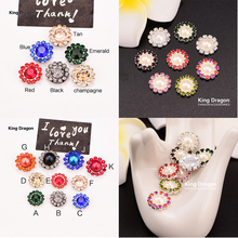 King Dragon Rhinestone Buttons Flatback 10MM 10PCS Pearl Hairpin Decoration DIY Craft Apparel Sewing Accessories KD598