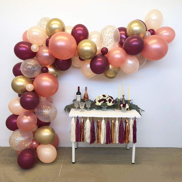 102pcs Rose Gold Burgundy Balloon Arch Matellic Gold Balloon Garland Wedding Party Balloons Birthday Supplies Backdrop Decors