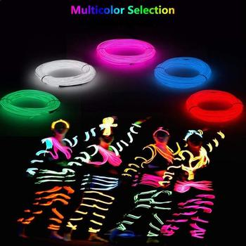 3m Flexible Strip Neon Light Glow EL Wire Rope tube Cable Waterproof LED Neon Lights Shoes Clothing Car party decorative light image
