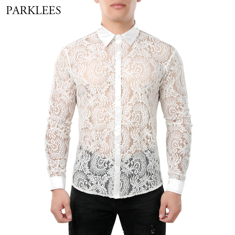 White Lace Shirt Men 2019 Brand New Floral Mens Dress Shirts Sexy See Through Wedding Party Prom Chemise Homme Camisa