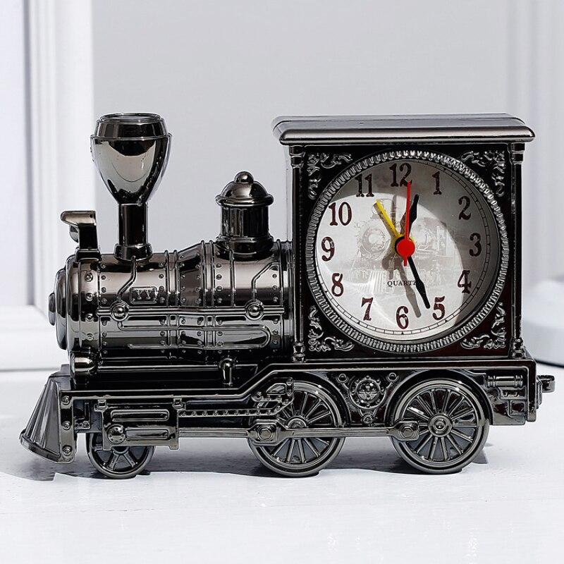 Retro Nostalgic Alarm Clock Locomotive Shape Bedroom Decoration Home Table Clock Students Timing Ornaments Birthday Party Gift