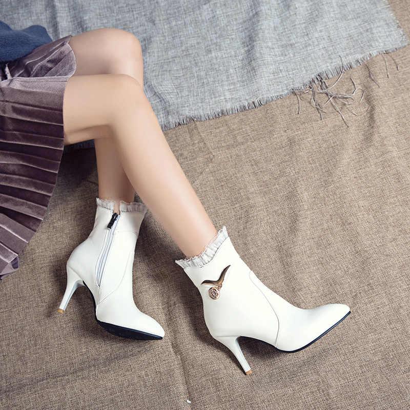 MEMUNIA Artı boyutu 34-48 Yeni yarım çizmeler kadın stiletto yüksek topuklu fermuar dantel siyah moda seksi bayanlar ayakkabı kadın