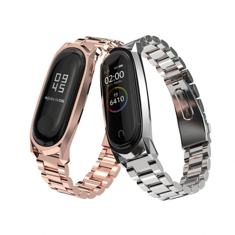 Stainless Steel Wrist Strap for Xiaomi Mi Band 3 4 Metal Watch Band Silver Smart Bracelet MiBand 3 Replaceable Watch Straps Mi 4