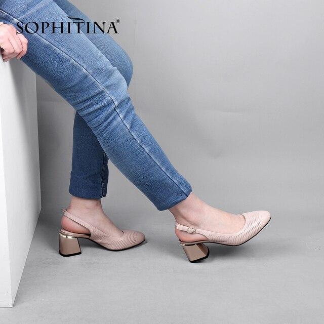 SOPHITINA Summer Women New Pumps Pointed Toe Square Heel High Slingbacks Shallow Casual Fashionable Shoes Sheepskin