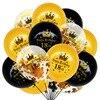 15 قطعة/الوحدة 12in النثار بالونات اللاتكس الذهب الأسود تاج عيد بالونات 18 30 40 50 سنة الكبار الذكرى حزب ديكور