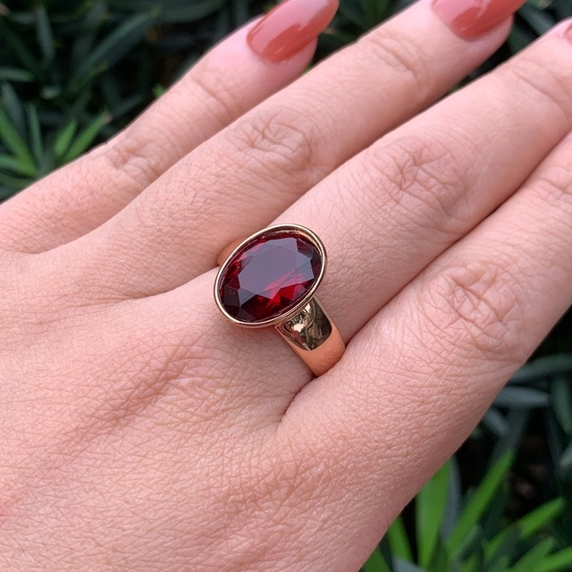 Luala vintage oval vermelho/verde natural pedra zircão anel para as mulheres rosa anéis de ouro indiano dubai jóias acessórios de casamento 5