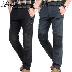 Image 1 - Мужские зимние теплые повседневные брюки, мужские черные толстые флисовые брюки, мужские мягкие брюки, мужские армейские военные водонепроницаемые брюки AM093