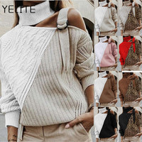 YELITE Women Autumn Top 2019 Letter Plaid Pullovers Female Loose Top O-neck Winter Pullovers Christmas Tee