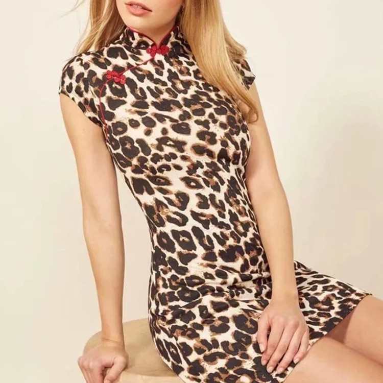 WOMEN'S Dress 2019 Summer Leopord Pattern Knot Button Bag Body Cheongsam-Dress Slim Fit Mini Dress