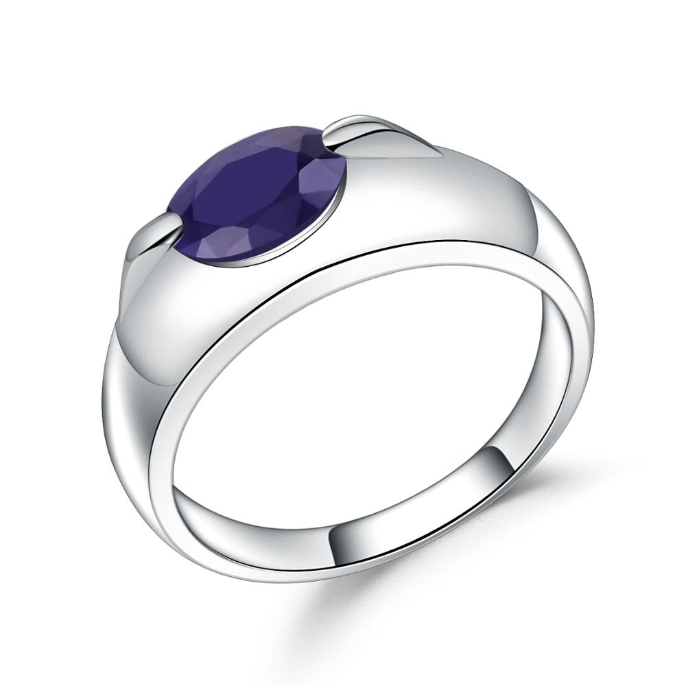Gem's Ballet Halo 1.66Ct Natural Blue Sapphire Promise Wedding Ring 925 Sterling Silver Gemstone Rings For Women Fine Jewelry