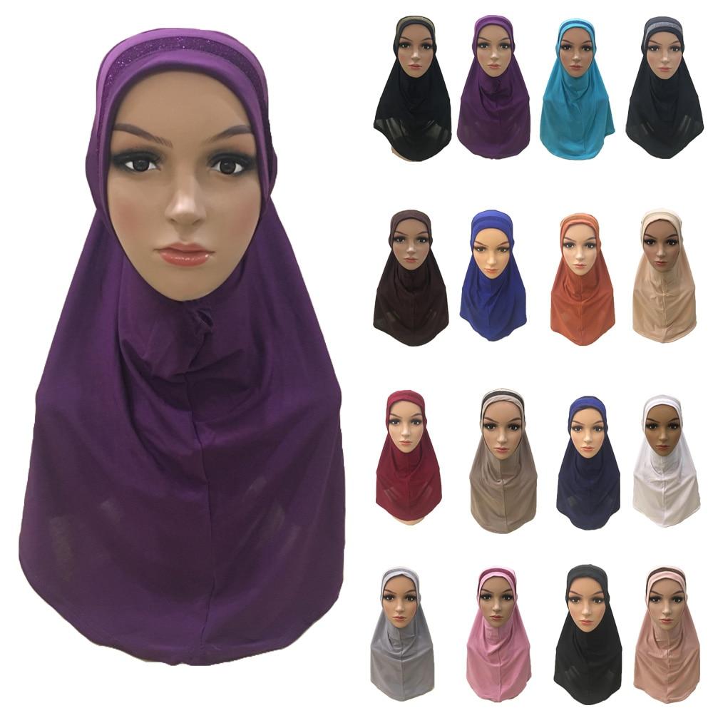 Plain Scarf Women Muslim One Piece Amira Hijab Islamic Hijabs Head Cover Wrap Shawl Turban Niqab Soft Headscarf Arab Khimar New