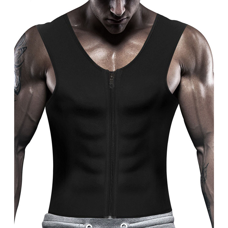 Mens Tank Top Body Trainer Shaper Sauna Sweat Top Waist Trainer Fat Burning Vest
