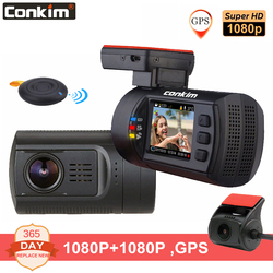 Conkim المزدوج عدسة كاميرا أمامية للسيارات لتحديد المواقع DVR الجبهة 1080P FHD + كاميرا خلفية 1080P FHD وقوف السيارات الحرس السيارات المسجل Mini 0906 داش كام