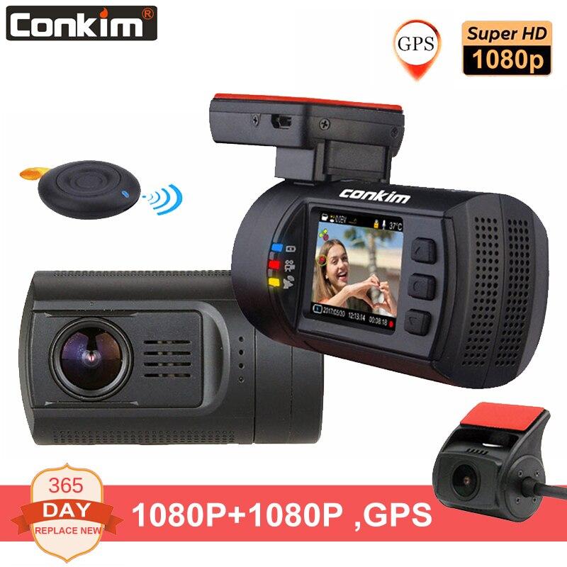 Conkim lente dupla câmera do traço carro gps dvr frente 1080 p fhd + câmera traseira 1080 p fhd guarda de estacionamento auto registrador mini 0906 traço cam