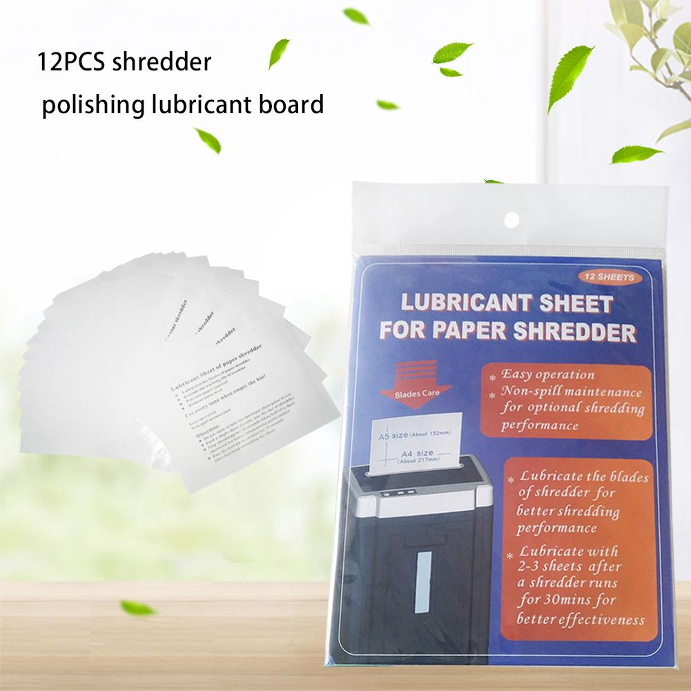 12PCS Shredder Lubricating Oil Pack Paper Shredder Sharpening Lubricant Sheets Computer Office Accessories