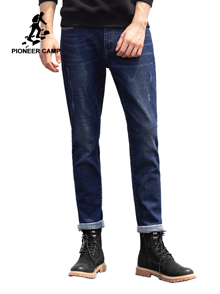 Pioneer Camp Warm Fleece Jeans Men Streetwear Dark Blue Solid Color Straight Causal Pants For Male ANZ901544T