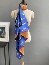 2020 new arrival spring classic  pattern 100%  silk scarf twill hand made roll 90*90 cm squareshawl wrap for women lady gift