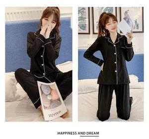 Image 4 - Весенне осенние пижамы женские пижамные комплекты с длинными рукавами Стразы с блестками пижамы женские пикантные пижамы Женская домашняя одежда