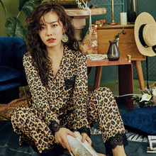 Sleepwear Pijamas Leopard Sexy Home-Service Female 2pieces Printing