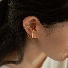 French Trendy  Ear Clip Gold Silver Color Metal Geometric Irregular Ear Cuff Earrings Women Fashion Jewelry Accessories