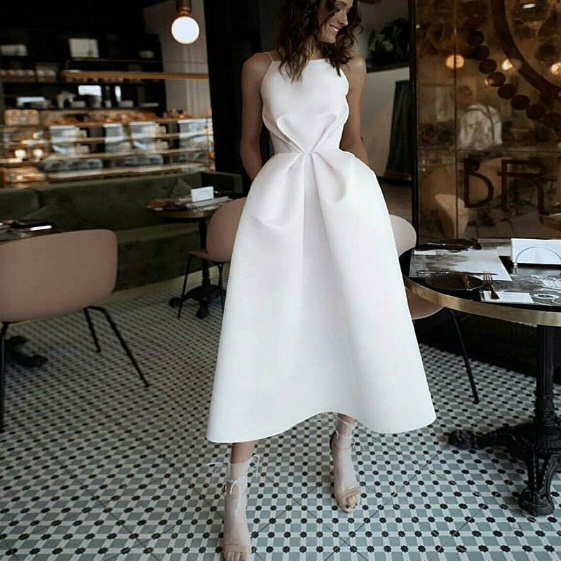Elegant Sheatn Spaghetti Straps Large White Party Dress With Pockets Zipper Up Nightclub Formal Women Dress Sling Dance Dress