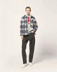 Vrouwen Marant Grey Check Gabriel Jas Gaston Blancket Shirt Lange Mouw Geborsteld Wol-blend Shirt Spread Kraag Plaid Wol shirt